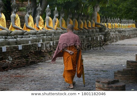 People worship around a Buddha statue Stock photo © Witthaya