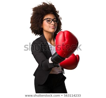 Vrolijk vrouw bokshandschoenen geïsoleerd witte naar Stockfoto © deandrobot