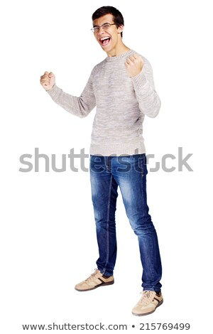 full length portrait of a man shouting with hands raised up stock photo © deandrobot