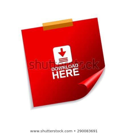 ダウンロード ここで ベクトル 赤 付箋 ウェブのアイコン ストックフォト © rizwanali3d