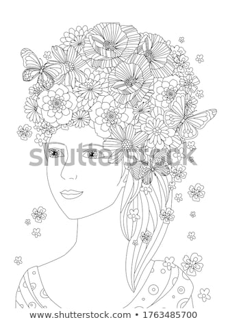 belo · floral · ilustração · borboleta · abstrato · lugar - foto stock © elmiko