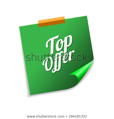 Top Offer Green Sticky Notes Vector Icon Design Stock photo © rizwanali3d