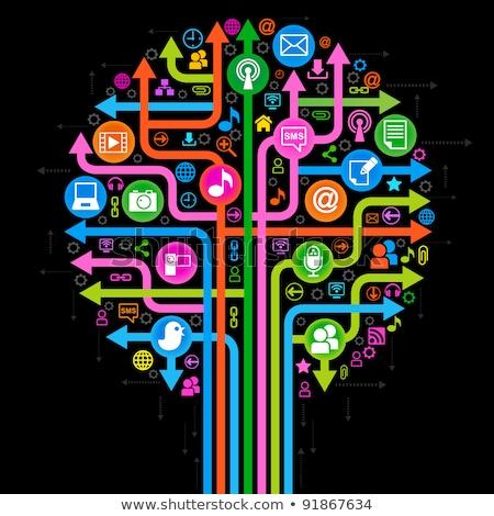 árbol iconos tema medios de comunicación social fuera cuadro Foto stock © teerawit