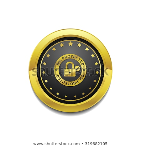 SSL Protected Link Golden Vector Icon Button Stock photo © rizwanali3d