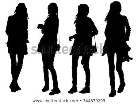 compras · mujer · vector · nina · alimentos · pelo - foto stock © -talex-