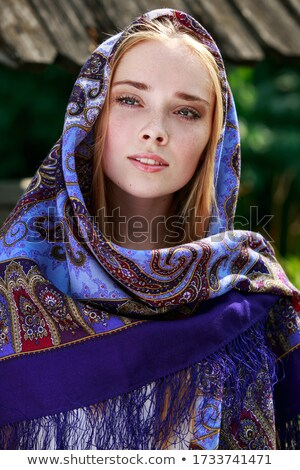 Portrait of Russian girl with birch Stock photo © svetography