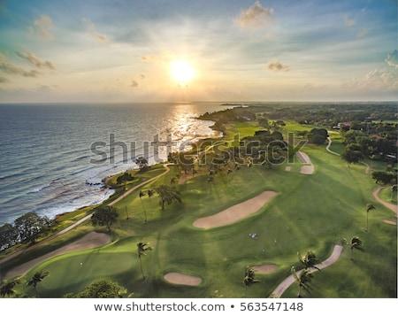tramonto · campo · da · golf · nubi · colori · erba - foto d'archivio © albertdw