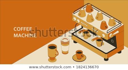 Barista készít kávé kávéfőző üzlet férfi Stock fotó © deandrobot