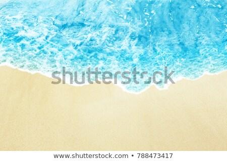 Blank postcard on beach sand, top view Stock fotó © stevanovicigor