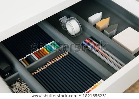 Stok fotoğraf: Ayarlamak · renkli · kalemler · kâğıt · ahşap · boya