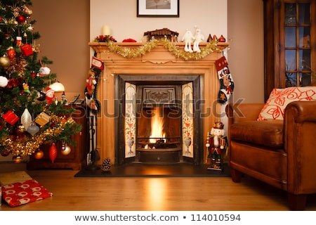 Home fireplace, christmas hearth with fire Stock photo © LoopAll