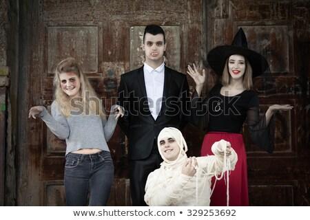 Feliz gótico mulher bruxa halloween traje Foto stock © deandrobot