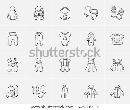 Hat muffole bambini sketch icona vettore Foto d'archivio © RAStudio