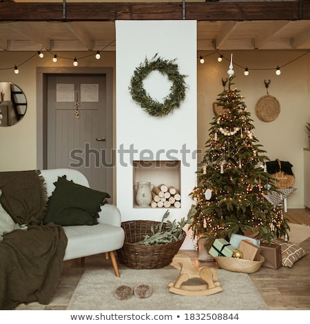 Festive Christmas fireplace with wreath Stock photo © ozgur