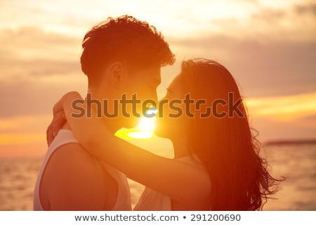 любителей целоваться закат иллюстрация женщину природы Сток-фото © adrenalina