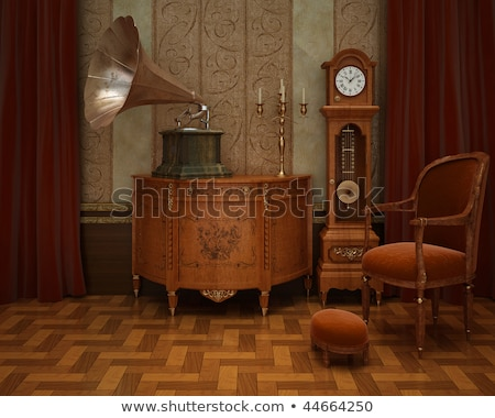 Room with red chair and gramophone Stock photo © bluering