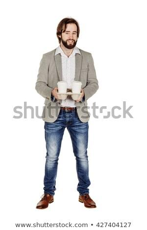 Retrato empresario desechable taza de café colegas Foto stock © wavebreak_media