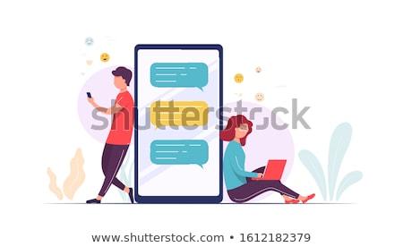 Nő küldés sms üzenet mobiltelefon érintőképernyő Stock fotó © stevanovicigor