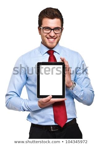 férfi · tart · tabletta · hipszter · szakáll · kezek - stock fotó © rastudio