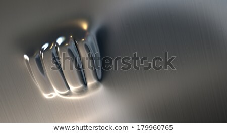 poing · perforé · métal · fiche · opposé · côté - photo stock © albund