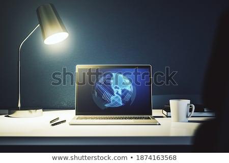 Over ons laptop scherm 3d illustration moderne vergadering Stockfoto © tashatuvango