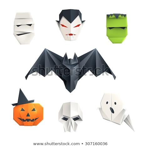 Noir bat origami isolé blanche art Photo stock © brulove