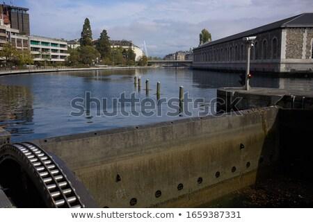Сток-фото: воды · Швейцария · небе · здании · синий