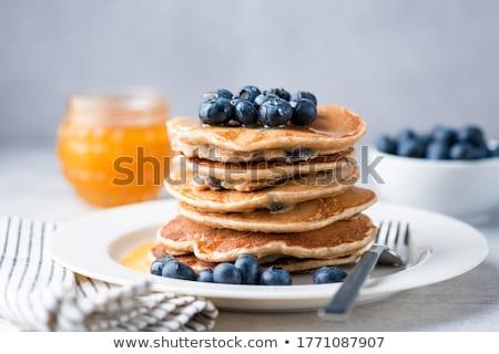 Stockfoto: Eigengemaakt · volkoren · pannenkoeken · vruchten · noten