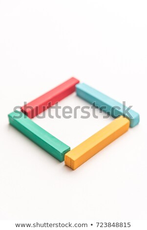 Close up of colorful pastel crayons, laid out in square Stock photo © deandrobot