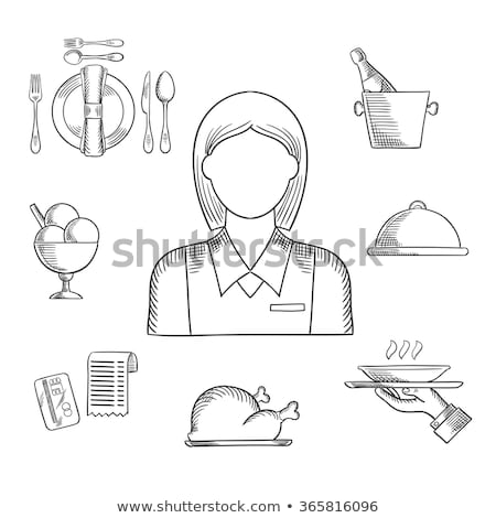 restaurant cloche sketch icon stock photo © rastudio