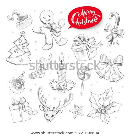 Grafito lápiz colección Navidad objetos dibujado a mano Foto stock © Sonya_illustrations