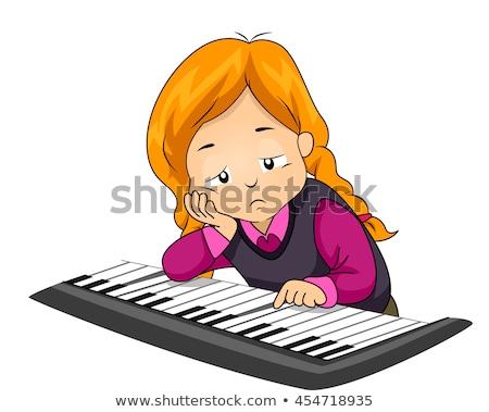 Kid ragazza piano giocare annoiato illustrazione Foto d'archivio © lenm
