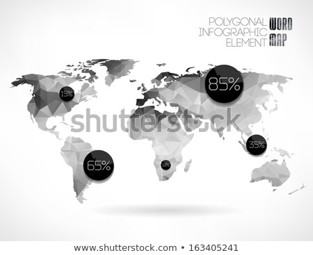 Hexagonal Atlas of earth. World map with continents geometric fi Stock photo © popaukropa
