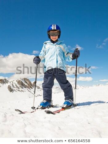 Chłopca narty śniegu górskich tle zimą Zdjęcia stock © IS2