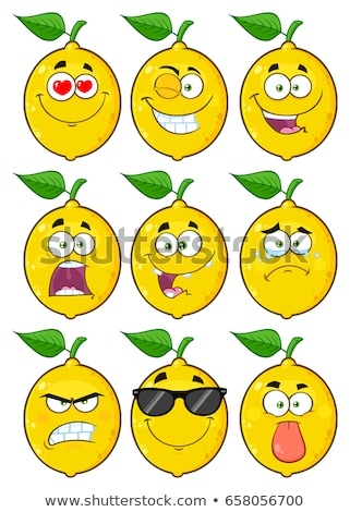 Smiling Yellow Lemon Fruit Cartoon Emoji Face Character With Wink Expression Stock photo © hittoon