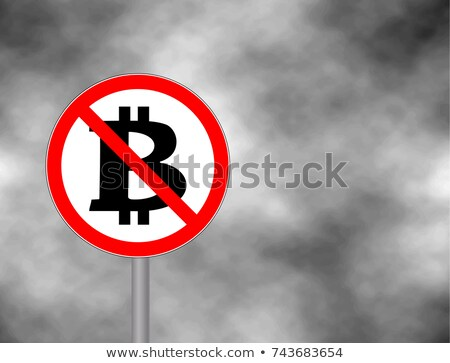 Stop Bitcoin. It is forbidden Cryptocurrency. Red prohibitory si Stock photo © popaukropa