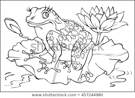 Game template with frog. Vector coloring book pages for children stock photo © Natali_Brill