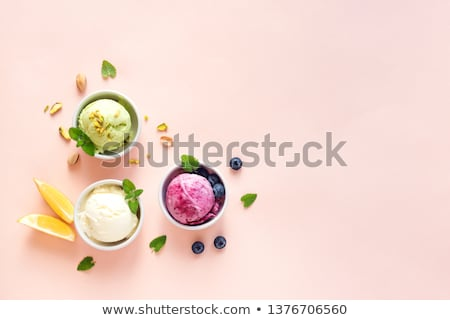 Assorted ice cream in white bowl. Stock photo © Melnyk