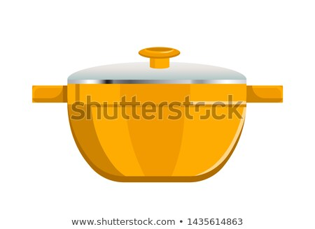 Deep Saucepan with Glass Cover and Yellow Corpus Stock photo © robuart