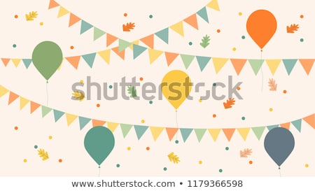 Celebrate Illustration with Party Flags and Falling Confetti on White Background. Vector Holiday Fes Stock photo © articular