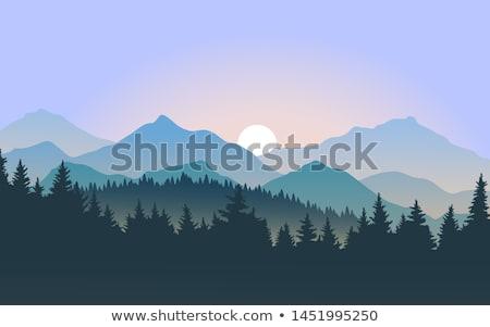 Blauw · landschap · silhouetten · bomen · bergen · hemel - stockfoto © freesoulproduction