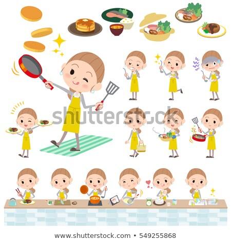 Achter knoop haren Geel rok vrouw Stockfoto © toyotoyo