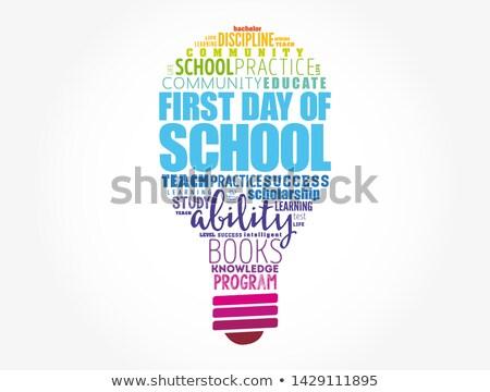 Terug naar school gloeilamp vorm veel stukken schrijfbehoeften Stockfoto © unikpix