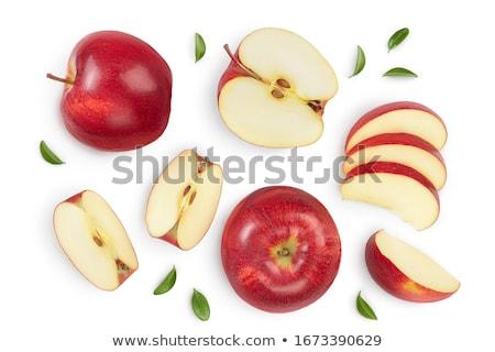 Foto stock: Fresco · maçã · vermelha · fatias · isolado · branco