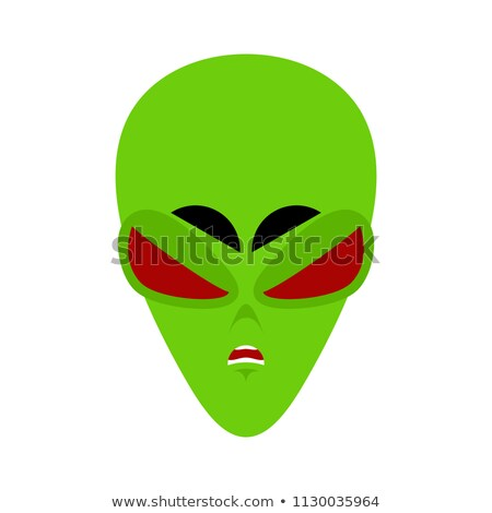 UFO angry Emoji. Green alien face Aggressive emotion. martian av Stock photo © popaukropa