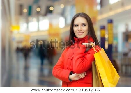 Nő promótál vásár ajánlat pláza boldog Stock fotó © Kzenon