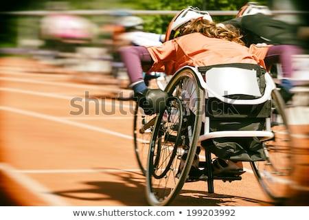 Sport rolstoel atletiek track lege gebruikt Stockfoto © albund