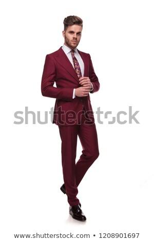boldog · üzletember · néz · emel · szürke · fal - stock fotó © feedough