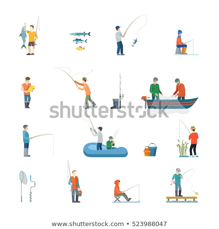 fishing man with rods set vector illustration stock photo © robuart