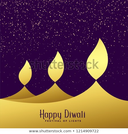creative three diwali golden diya background Stock photo © SArts